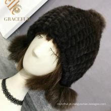 Multi cor headwear meninas preto chapéu de pele real