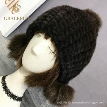 Multi Farbkopfbedeckung-Mädchen schwarzer realer Pelzhut