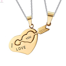 Alphabet Love Stainless Steel Puzzle Couple Heart Pendant Necklace