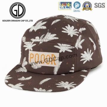 Gorra de camionero de Snapback de la hoja de 2016 5panel Brown con la etiqueta tejida