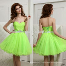 Hermoso 2014 neón verde amor cuello falda de tul corto A-línea de encaje vestido de fiesta de regreso a casa con marco en línea NB0858