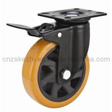 Mh4 Med-Heavy Duty Brake Type Double Ball Bearing Black PU Wheel Caster