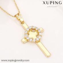 32336-Xuping Imitação Jóias religião moda cruz Ouro Pingente Banhado A Ouro 18K