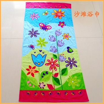 Cotton Velour Flower and Butterfly Tryckt Strand Handduk