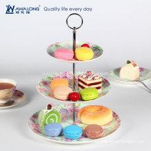 Neue Bone China Farben gedruckt Drei Schichten Runde Keramik Kuchen Platte