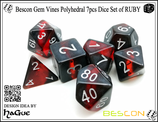 Bescon Gem Vines Polyhedral 7pcs Dice Set of RUBY-3