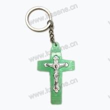 Billig leuchtendes Plastik Kruzifix Kreuz Schlüsselbund Anhänger
