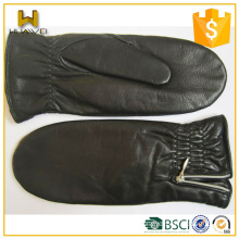 Warm Fur Lined Black Leather Mittens Sheepskin Women Mittens Leather with Fold on the Cuff