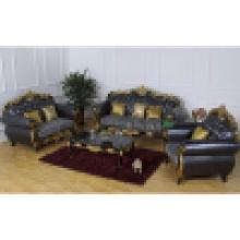 Sofá de couro com moldura de madeira do sofá e mesa lateral (D929F)