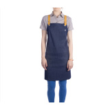 custom high quality blue denim apron with cross back strap