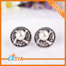 Classic Retro Antique Silver Pearl Stud Earrings Jewelry