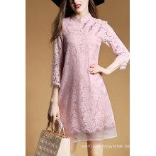 2016 Sweet Lady Vestido de mangas largas de encaje rosa