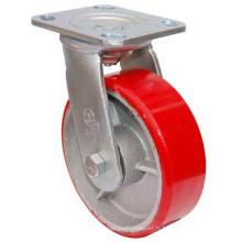 PU pivotante sur roulette en fonte (rouge)