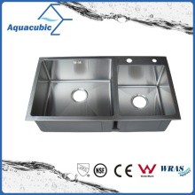Pia de aço inoxidável artificial de melhor preço para dois banhos (ACS8245A2)
