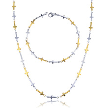 Vergoldete religiöse Kreuz Schmuck Set Halskette und Armband Set