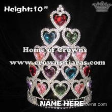 Crystal Valentine Pageant Crowns With Heart Shaped Diamonds