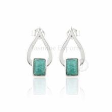 Handmade Arizona Turquoise Gemstone with Silver Fashion Earring for Enagagement & Wedding