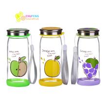 Venda quente de alta qualidade BPA livre linda fruta garrafa de vidro copo de água do escritório