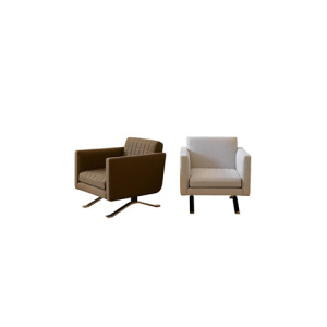 Solid Wood Single Sofa Armchair In Fabric