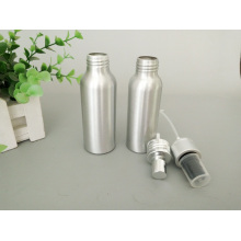 Silver Aluminum Cosmetic Bottle with Lotion and Spray Pump