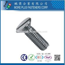 Hergestellt in Taiwan Carbon Steel Klasse 4.8 Slotted Drive Raised Flachkopf Maschine Schraube