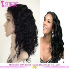 Peruca não processada do cabelo humano da parte dianteira do laço do Virgin da cor natural das mulheres negras