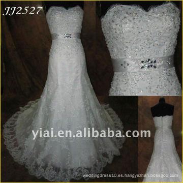 JJ2527 Vestido de boda nupcial rebordeado más nuevo de la sirena del cordón del envío libre 2011