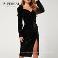 Velvet Foil Spot Shirt Long Sleeve Black Woman Long Puff Sleeve Formal Dress