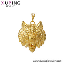 33521 xuping jewelry 24k gold plated wolf head shape animals pendants