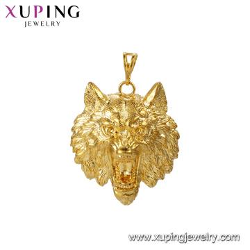 33521 xuping jewelry 24k gold plated wolf head shape animals pendants