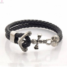 Retro rock style mens leather rope bracelet clasp for mens