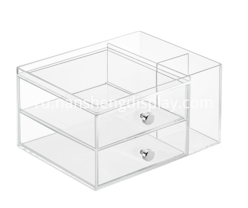 "Great organization for counter top or vanity Multiple compartments for various makeup items and brushes Two drawers on bottom for extra storage Durable Clear plastic with Chrome handles 9"" x 7"" x 5.25"""