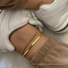 Minimalist Wind Metal Texture Chain Snake Chain 2 Pieces Set of Anklet Wholesale