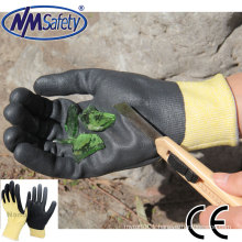 NMSAFETY anti fire use 13 gauge foam nitrile anti cut on palm work gloves