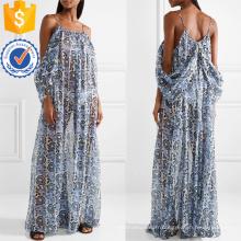 Cold-épaule à manches longues imprimé en mousseline de soie d'été Maxi Dress Fabrication en gros Fashion femmes vêtements (TA0319D)