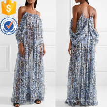 Cold-Shoulder Long Sleeve Printed Chiffon Summer Maxi Dress Manufacture Wholesale Fashion Women Apparel (TA0319D)