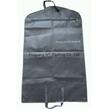 Nonwoven Zipper Suit Cover Garment Bag with Clear PVC Pockets