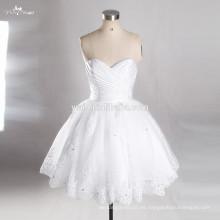 RSW763 Cuello Cuello Puffy falda Sexy Short Mini vestido de boda corto blanco