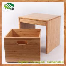 Bamboo Stool with Shoe Storage Basket