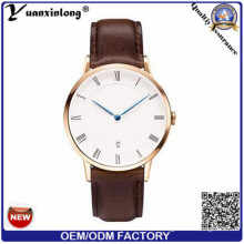 Yxl-645 Newest Slim Men Wrist Watch with Leather Band and Rosegold Case