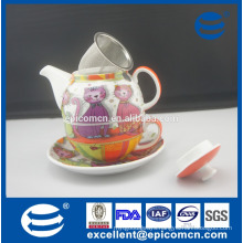 wholesale manufacturer cartoon pattern ceramic porcelain one person tea set in one