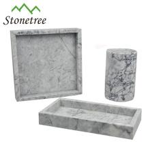 Bandeja de servicio de mármol negro cuadrado de piedra natural 100%