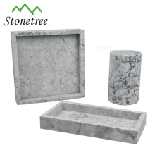 100% Natural Stone Square Black Marble Serving Tray