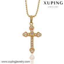 32546-new york costume jewelry 18k dubai gold cross pendant