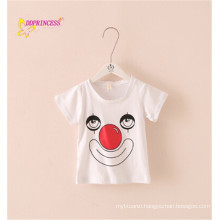 wholeale price in stock plain white children t shirt with clown printing children t shirt children sport wear