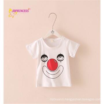 wholeale price in stock plain white children t shirt with clown printing children t shirt children sport wear