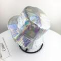 Silver laser cap bucket snapback hat