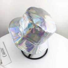 Chapéu de snapback de balde de prata com tampa a laser