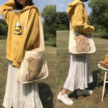 Padrão de urso bonito bordado bolsa de ombro de lona