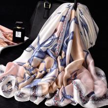 Belles femmes écharpe en soie foulard imprimé numérique longue écharpe 100% polyester